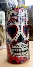 HALLOWEEN DAY OF THE DEAD (red&white) SUGAR SKULL HAND DECORATED PILLAR CANDLE