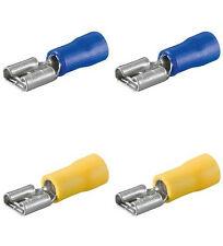 40 Flachsteckhülsen blau/gelb, 6,3 mm für Kfz / Hobby / Elektro und Elektronik