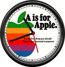 Apple Computer Dealer Sales Service Original Retro Vintage Art Sign Wall Clock