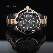 Invicta Automatic 18k Rose Gold Grand Diver 24 Jewel Gun Metal $795 Mens Watch !