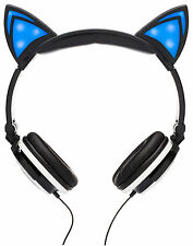 SoundBeast Cat Ear Headphones with Glowing Blue Lights - Over The Ear - Black