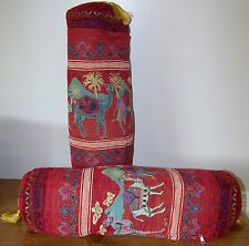"Set of 2 Red 20""x7"" Turkish Cotton Blend Camel Pattern Pillow w/ Insert"