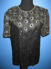 Vtg 80s Black Silver Discs Beaded Sequin Deco Glam Trophy Top Cruise M