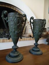 ANTIQUE KRATERS PAIR 19th CENTURY NEOCLASSICAL GREEK KRATERS FLAME BURNERS