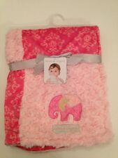Blankets And & Beyond Baby Girl Blanket Pink Rosette Damask Patchwork Elephant