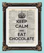 "ANTIQUE VINTAGE DICTIONARY ART PRINT "" KEEP CALM AND EAT CHOCOLATE "" 10 x 8"""