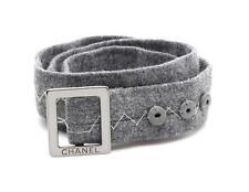Chanel Grey Wool Topstitch Buckle Belt