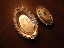 Vintage Footed Sheridan Silver Plate Covered Butter Dish & Bread Tray lot of 2
