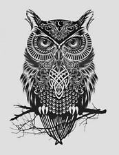 Framed Print - Abstract Native Style Owl (Picture Poster Art Bird Prey Animal)