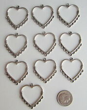 TIBETAN SILVER LARGE HEART CHANDELIER EARRING CONNECTORS 29 X 26 MM