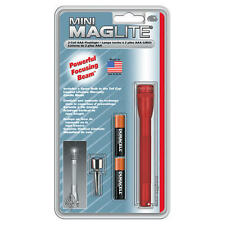 "Maglite Light M3A036 Red Mini-Mag 2-AAA 5"" 1200 Candlepower Flashlight"