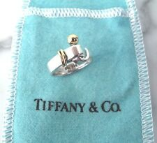 TIFFANY & CO. .925 Hook & Eye Band Ring Sterling Silver with 18K Gold 5