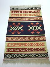 "Woven Area Rug Carpet Fringe Stripped South Western Aztec Design 22"" x 38"""