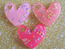 3 x Glittery Hearts Flatback Resin Embellishment Crafts ,Hair bow, Cabochon UK