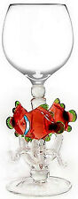 EXQUISITE HAND-BLOWN WINE GLASS - 3 CORAL FISH - BY YURANA GLASS W219