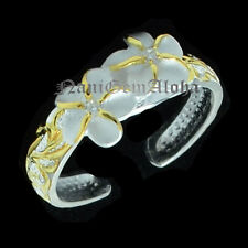 Hawaiian Silver Scroll Engraved 2 Plumeria Flower 4mm Gold Plated Toe Ring
