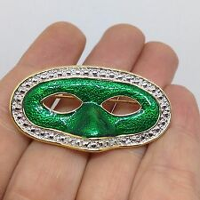 Vintage Estate MARDI GRAS MASK PIN BROOCH Green Enamel Silver Tone Jewelry