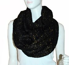 Soft Black Sparkling Knit Warm Winter Circle Cowl Loop Infinity Scarf