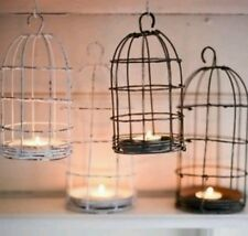 Attractive Nkuku Bird Cage T-Light Holder, Grey Distressed Metal, Shabby Chic.