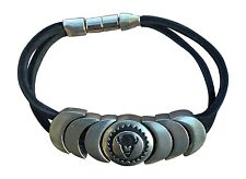 """Indian Magnetic Leather Bracelet """"Virtuous"""" Jewelry Black Magentic NEW S"""