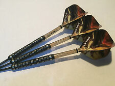 28g Black Raptor 90% Tungsten Darts Set, Smokey Supergrip Stems, Raptor Flights