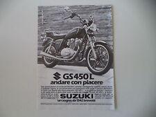 advertising Pubblicità 1982 MOTO SUZUKI GS 450 L