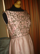 PINK ROSE BEADED RHINESTONE PARTY PROM COCTAIL RAW SILK SHANTUNG MAXI DRESS GOWN