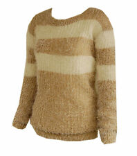 New Women ladies knitted beige cream fluffy jumper top sz 16