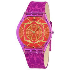 Swatch Shantaram Orange Pattened Dial Purple Fabric Unisex Watch SFV109