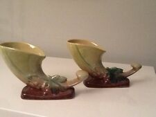 Pair Roseville Pottery Wincraft Earth tones Cornucopia 221-8 ~Buy One ~ One Free