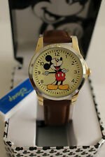 New Disney Mickey mouse, MEN leather band watch, new/warranty + FREE GIFT