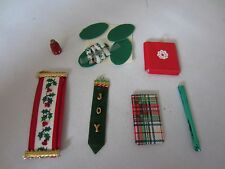 Lot of Dollhouse Miniature Christmas Decorations Bell Pulls Gift Bag Wrap