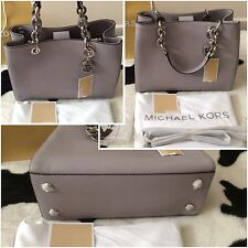 BNWT Michael Kors Medium CYNTHIA Grey Saffiano Leather Satchel Bag��