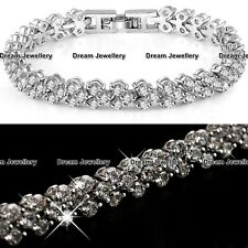 Silver Diamond Tennis Bracelet Wedding Christmas Gift for Her Wife Women Mum GF
