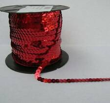 6mm Wide By the Yard Strung Flat Sequins Red Metallic Bling Trim Craft Sewing