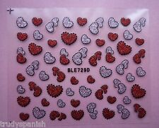 Valentines Nail Art Stickers Decals Red Glitter Love Hearts Design (729D)