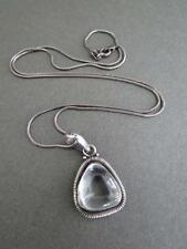 VINTAGE IN STERLING SILVER Rock Crystal Collana con ciondolo di quarzo