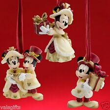 VICTORIAN MINNIE AND MICKEY MOUSE  Disney Christmas Ornament Set NEW