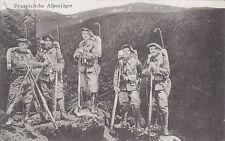 Postkarte WK1, 1914/18 Französische Alpenjäger, um 1914 nach München als Felpost