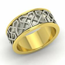Men's wedding Band / Ring  In 7 mm Two Tone Solid 10k Yellow Gold-Free Engrave