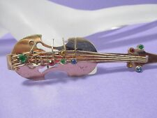 Vintage 3D Cello Brooch Pin w/Rhinestone Music Notes SIGNED - PAT APLD FOR