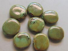 8 Pale Green Flat Oval 32x29mm Porcelain Beads (G159AAi3)