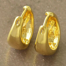 Smooth 9K Real Gold Filled Ladies Hoop Earrings,NEW .F5161