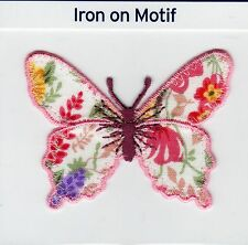 FLORAL BUTTERFLY PINK EDGED IRON ON APPLIQUE MOTIF PATCH, BRAND NEW