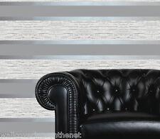 Bluey Grey, Silver & Cream Striped Blown Vinyl Designer Wallpaper With Glitter