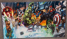 Marvel Avengers vs DC Justice League Glossy Print 11 x 17 In Hard Plastic Sleeve