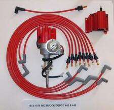 DODGE 440 1973-1978 RED Small Female Cap HEI Distributor, coil, Spark Plug Wires
