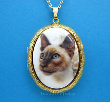 Porcelain Seal Point SIAMESE CAT CAMEO Costume Jewelry Locket Pendant Necklace