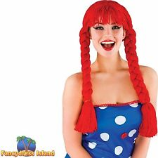 FAIRYTALE CUTE RED WOOL RAG DOLL PLAITS WIG Ladies Womens Fancy Dress Costume