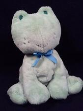 Carters Green Croaking Plush Frog ~Blue Bows Embroidered Features Top Stitching